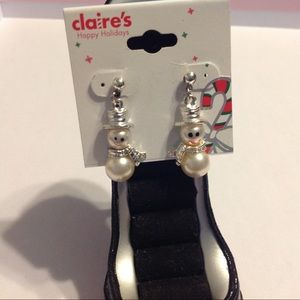 Claire's Silver Tone Snowman Earrings